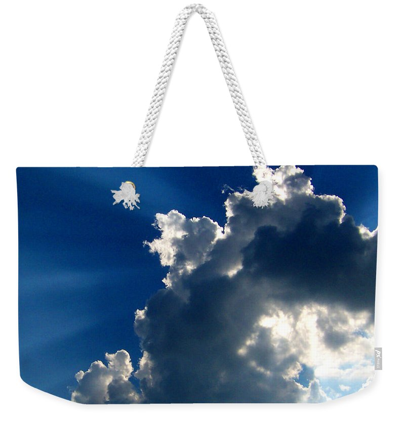 Clouds Weekender Tote Bag featuring the digital art Silver Lining I by Dee Fabian