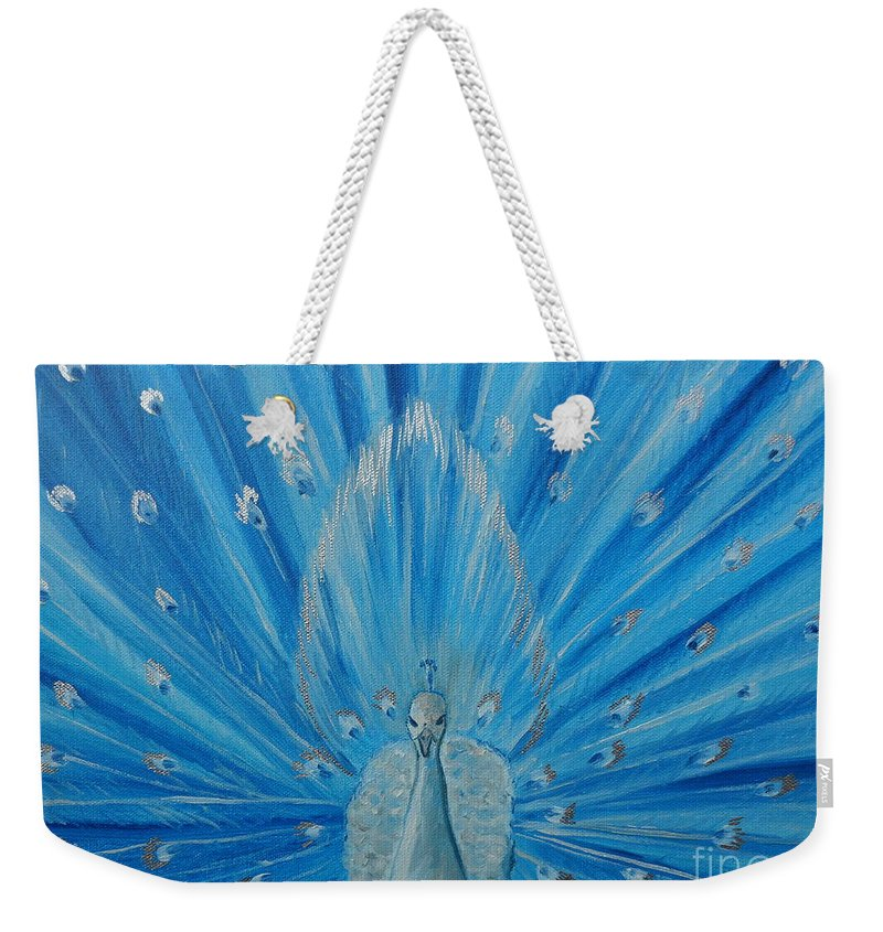 Peacock Weekender Tote Bag featuring the painting Silver Peacock by Julie Brugh Riffey