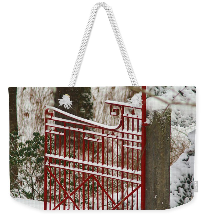 Fences Weekender Tote Bag featuring the photograph Single Red Gate by Randy Harris