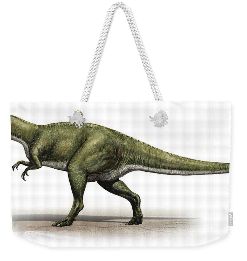 Horizontal Weekender Tote Bag featuring the digital art Sinraptor Dongi, A Prehistoric Era by Sergey Krasovskiy