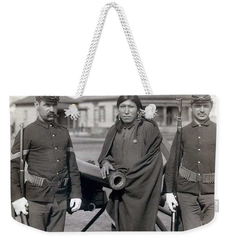 1891 Weekender Tote Bag featuring the photograph Sioux Warrior, 1891 by Granger