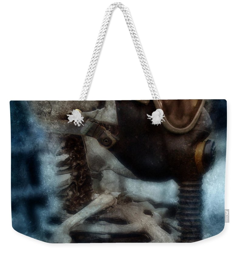 Gas Mask Weekender Tote Bag featuring the photograph Skeleton In Gas Mask by Jill Battaglia