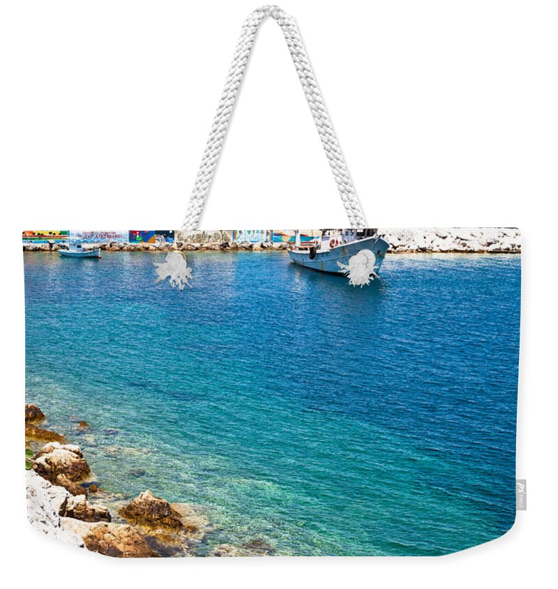 2012 Weekender Tote Bag featuring the photograph Skiathos Harbour by Tom Gowanlock