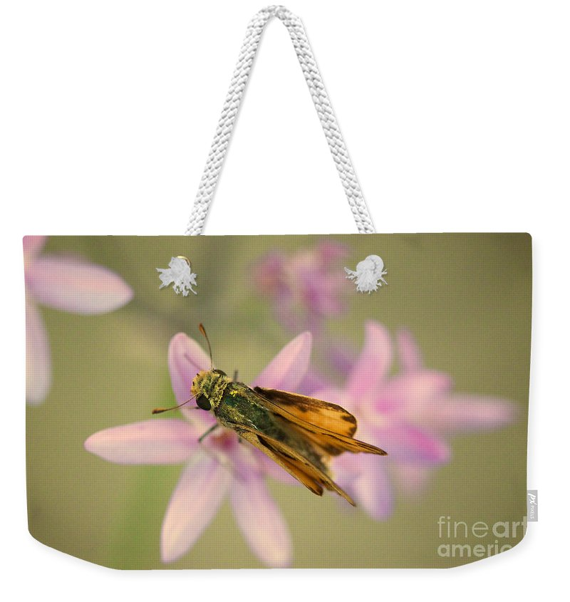 Skipper Butterfly Weekender Tote Bag featuring the photograph Skipper Butterfly by Brooke Roby