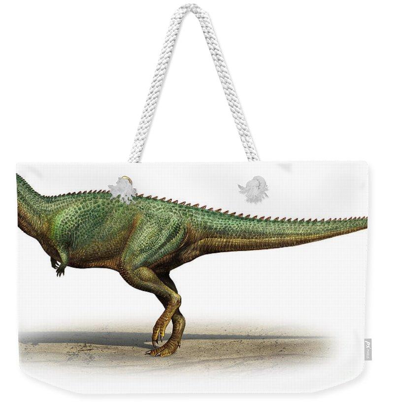 Horizontal Weekender Tote Bag featuring the digital art Skorpiovenator Bustingorryi by Sergey Krasovskiy