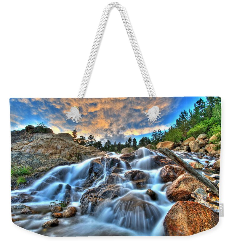 Park Weekender Tote Bag featuring the photograph Sky Blue Falls by Scott Mahon