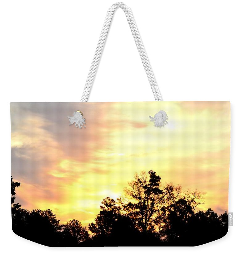 Sky Weekender Tote Bag featuring the photograph Sky Of Fire by Maria Urso