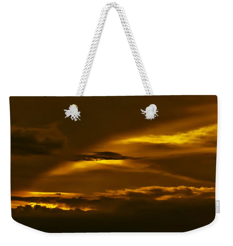 Sunset Weekender Tote Bag featuring the photograph Sky Of Golden Fleece by DigiArt Diaries by Vicky B Fuller