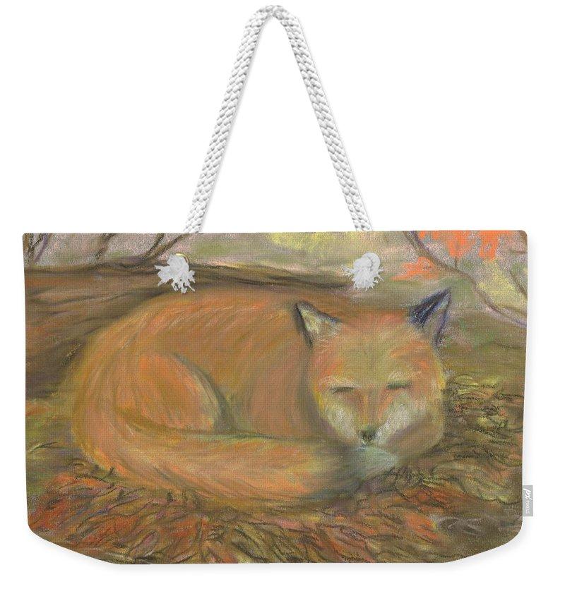 Fox Weekender Tote Bag featuring the pastel Sleeping Fox by Lisa Guarino