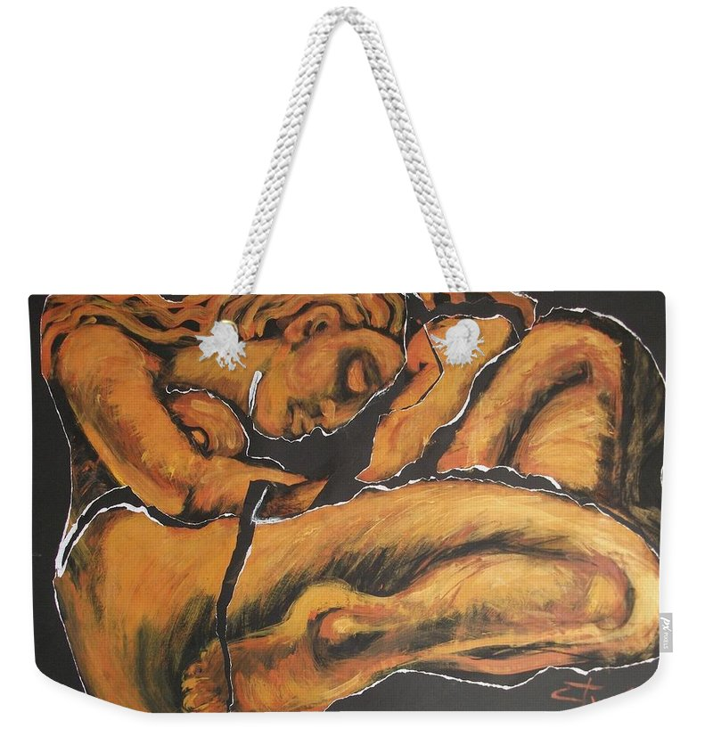 Original Weekender Tote Bag featuring the painting Sleeping Nymph4 - Female Nude by Carmen Tyrrell