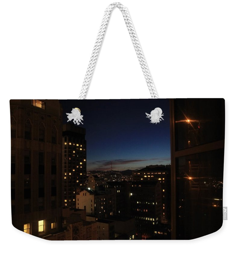 San Francisco Weekender Tote Bag featuring the photograph Sleepless Nights by Laurie Search