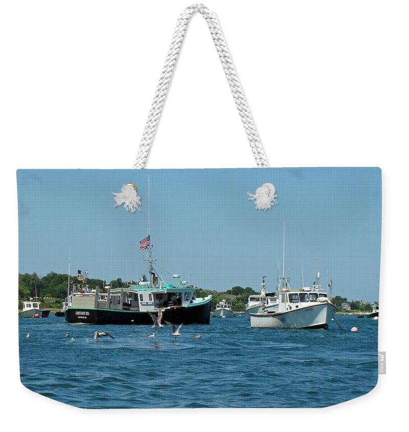 Boat Weekender Tote Bag featuring the photograph Sleepy Boats At Chatham - Cape Cod Ma by Mother Nature