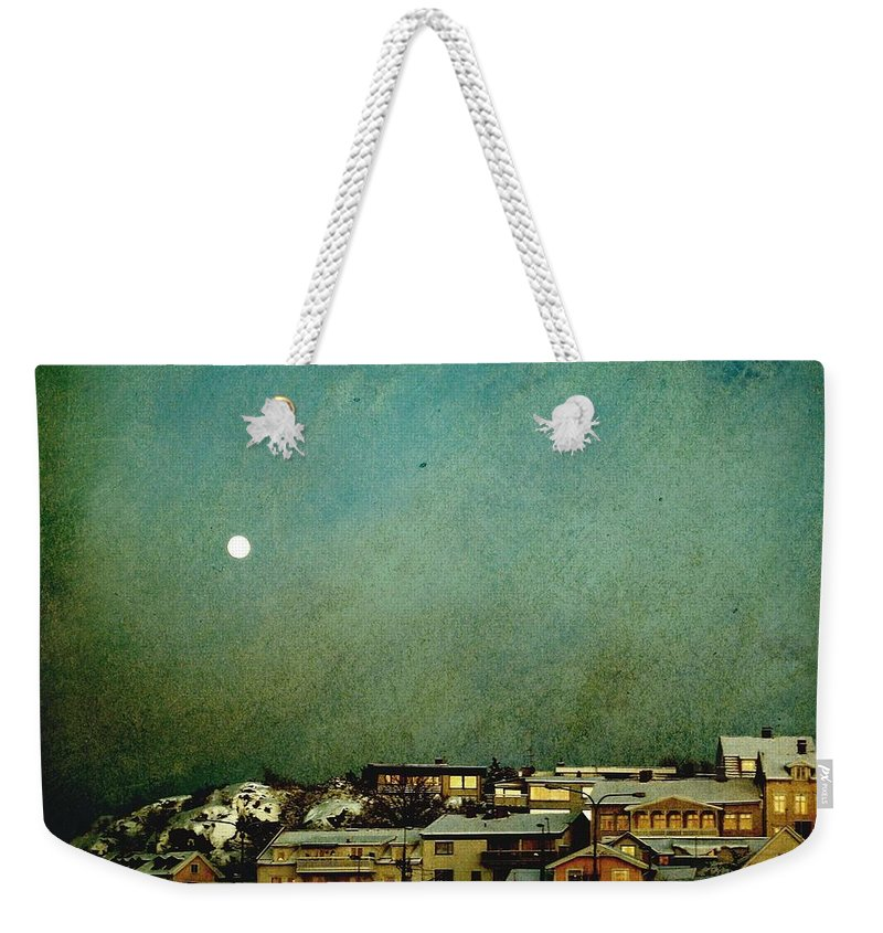 Dreamy Weekender Tote Bag featuring the photograph Sleepy Winter Town by Sonya Kanelstrand