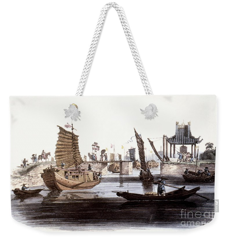 1800 Weekender Tote Bag featuring the photograph Sluice In China, 1800 by Granger