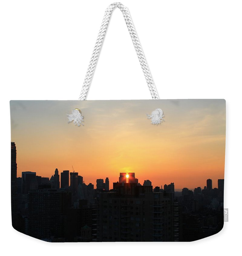 Nyc Sunset Weekender Tote Bag featuring the photograph Smack Dab In The Middle by Catie Canetti