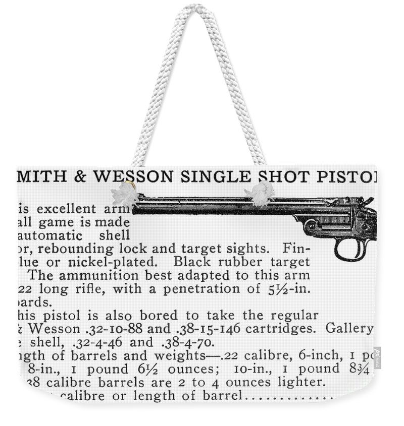 20th Century Weekender Tote Bag featuring the photograph Smith & Wesson Pistol by Granger