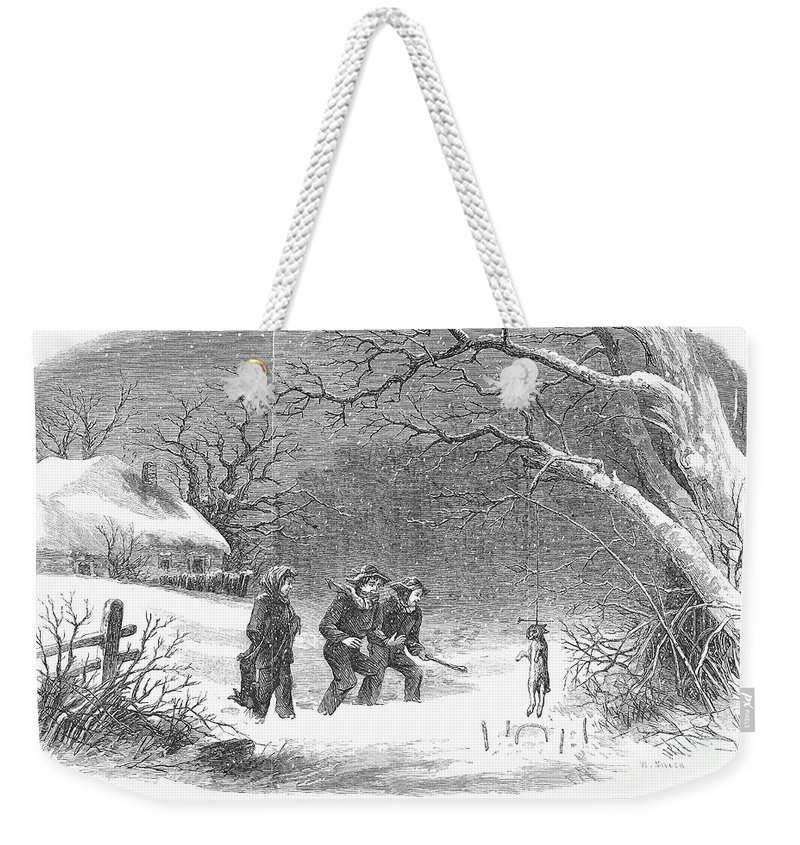 1867 Weekender Tote Bag featuring the photograph Snaring Rabbits, 1867 by Granger