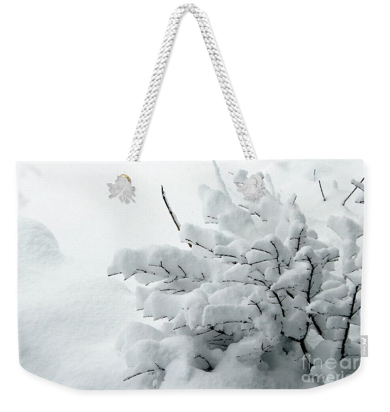 Snow Weekender Tote Bag featuring the photograph Snow Abstract 2 by Barbara Griffin