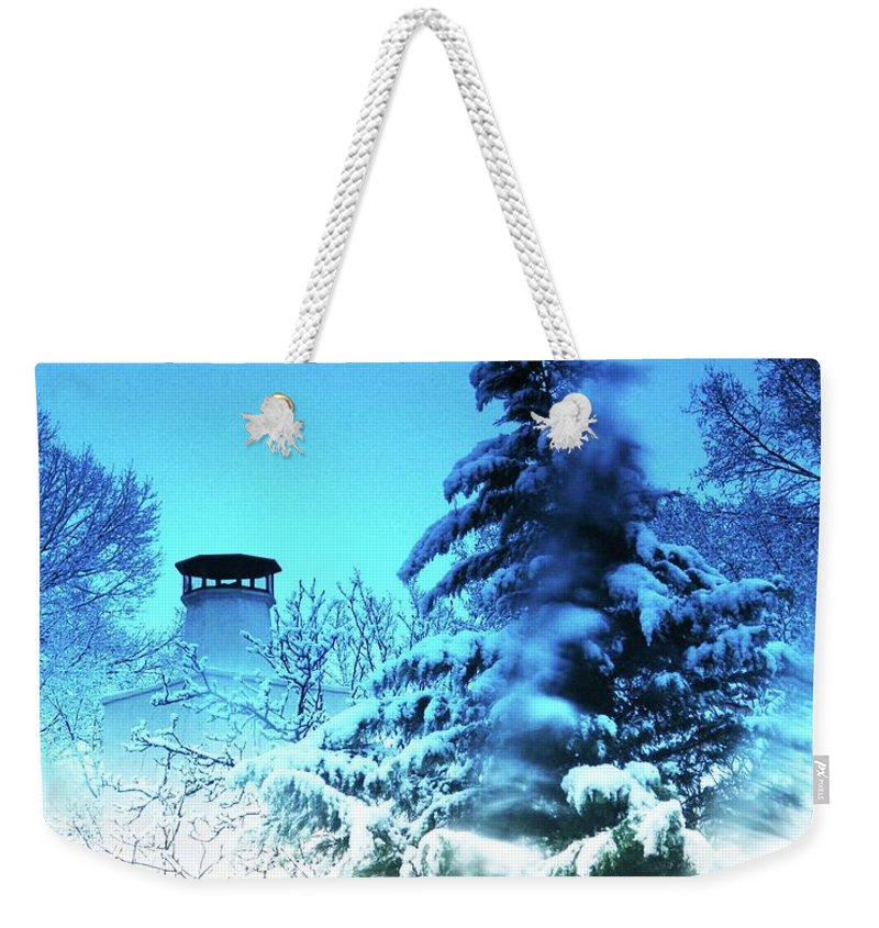 Snow Weekender Tote Bag featuring the digital art Snow Bow by Lizi Beard-Ward