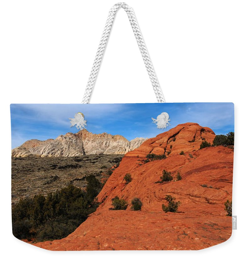 Snow Canyon Weekender Tote Bag featuring the photograph Snow Canyon 1 by Vivian Christopher
