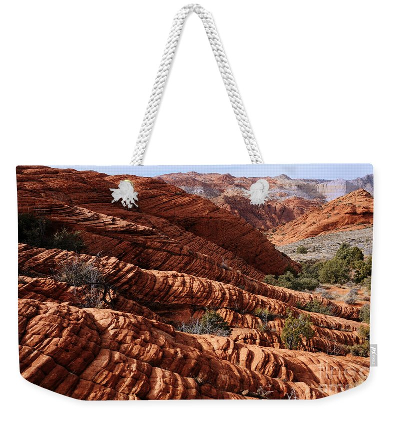 Snow Canyon Weekender Tote Bag featuring the photograph Snow Canyon 2 by Vivian Christopher