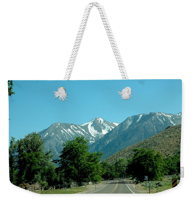 Usa Weekender Tote Bag featuring the photograph Snow Covered Pass Ahead by LeeAnn McLaneGoetz McLaneGoetzStudioLLCcom