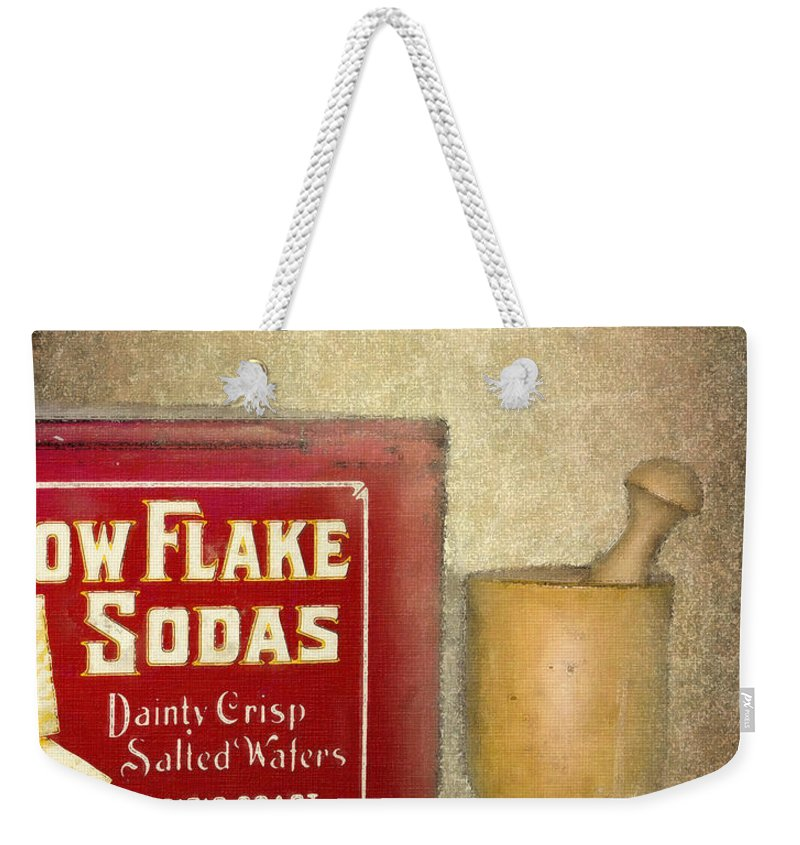 Crackers Weekender Tote Bag featuring the photograph Snow Flake Soda Crackers by Betty LaRue