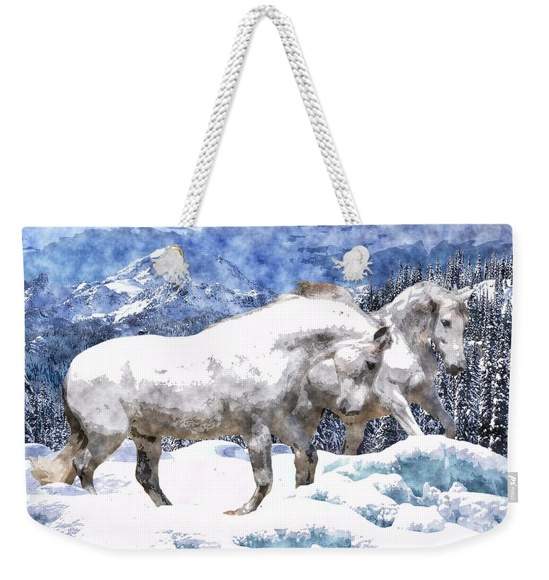 Horse Weekender Tote Bag featuring the photograph Snow Play by Vicki Podesta