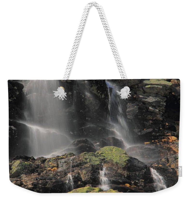 Waterfalls Weekender Tote Bag featuring the photograph Snowmelt Waterfalls In Tuckermans Ravine by Roupen Baker