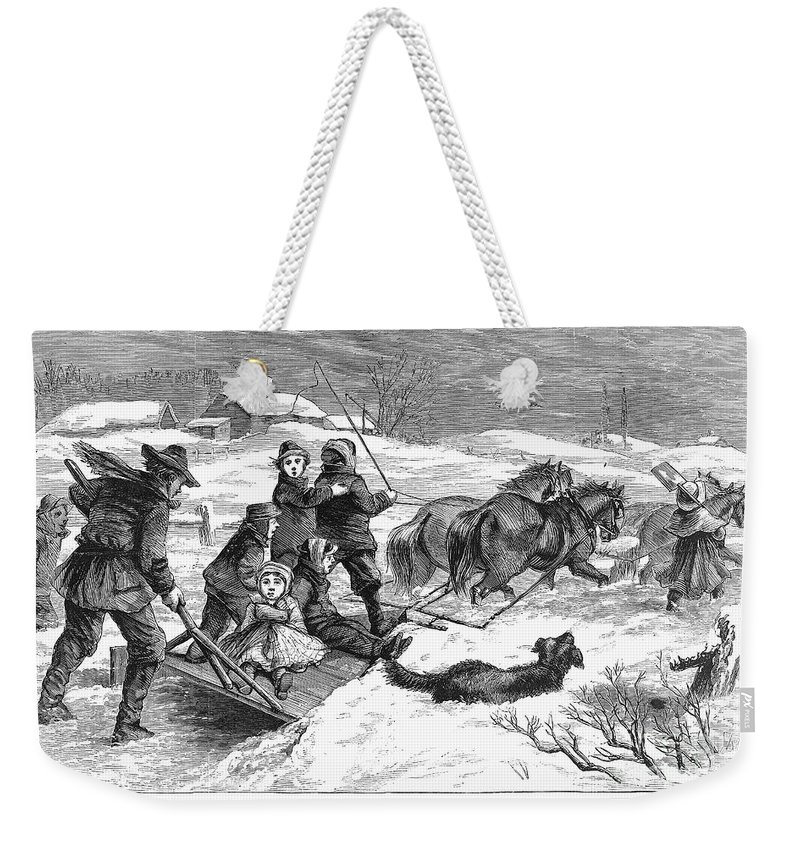 1867 Weekender Tote Bag featuring the photograph Snowstorm In The Country by Granger