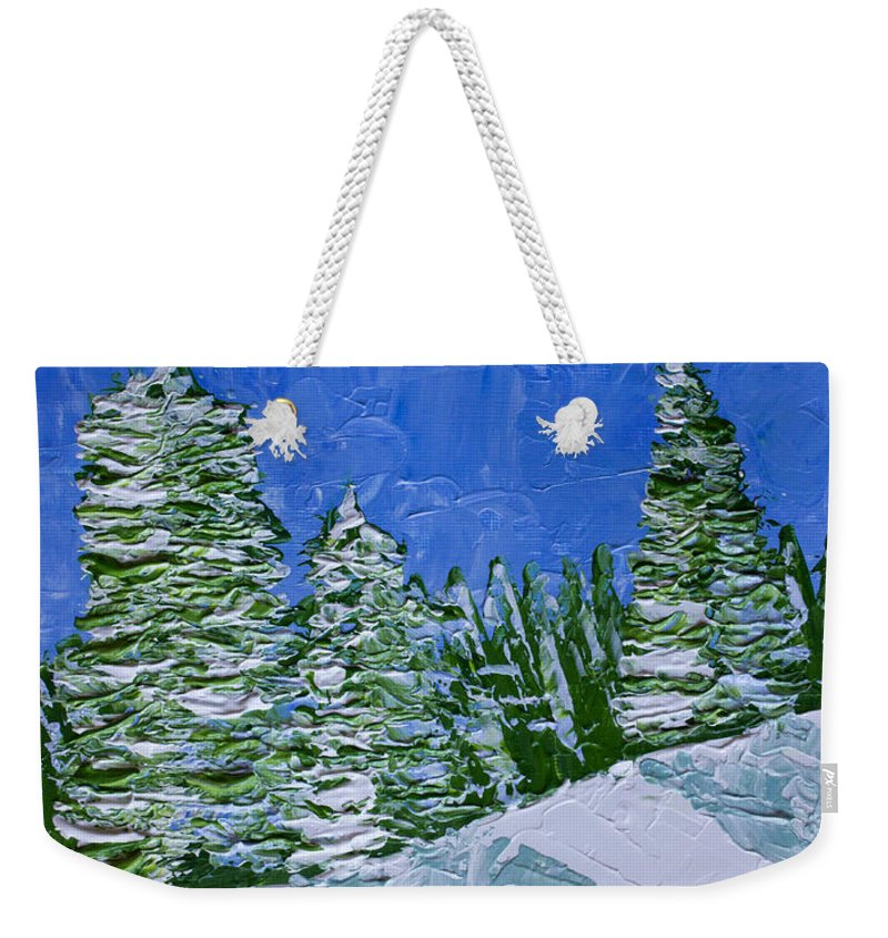 Abstract Weekender Tote Bag featuring the painting Snowy Pines by Heidi Smith