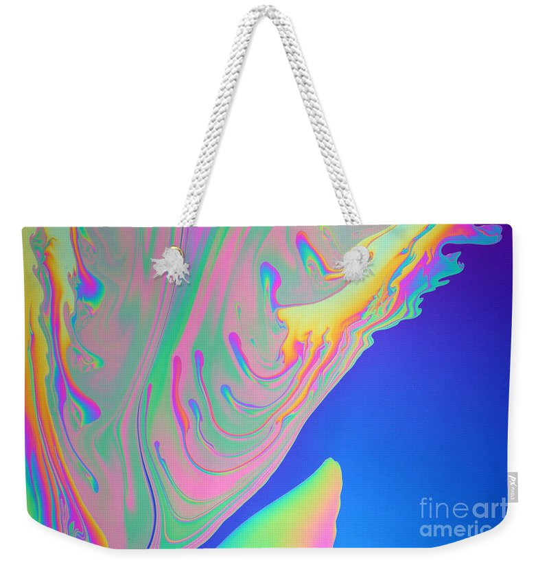 White Light Weekender Tote Bag featuring the photograph Soap Film by Ted Kinsman