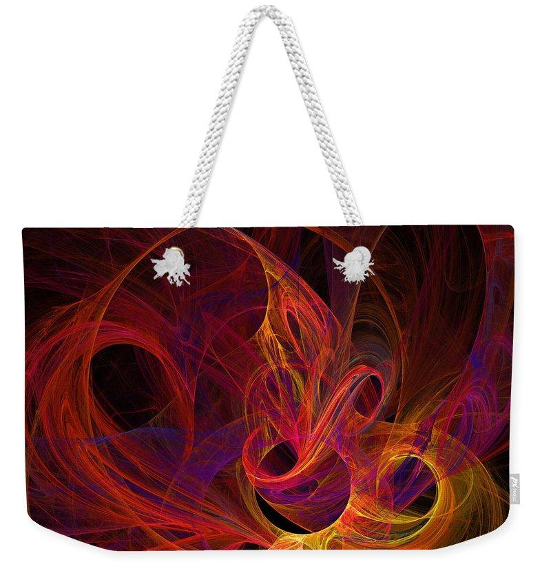 Solar Weekender Tote Bag featuring the digital art Solar Flares by Ricky Barnard