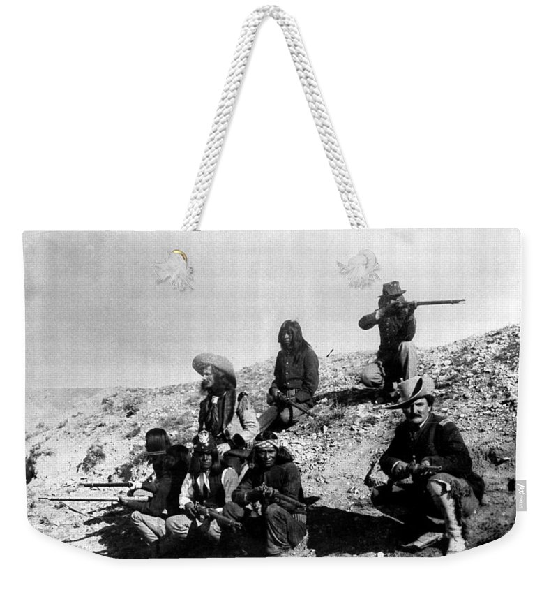 19th Century Weekender Tote Bag featuring the photograph Soldiers And Scouts by Granger