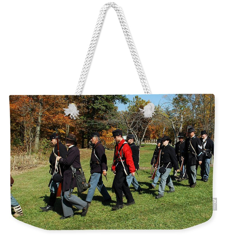Usa Weekender Tote Bag featuring the photograph Soldiers March Color by LeeAnn McLaneGoetz McLaneGoetzStudioLLCcom