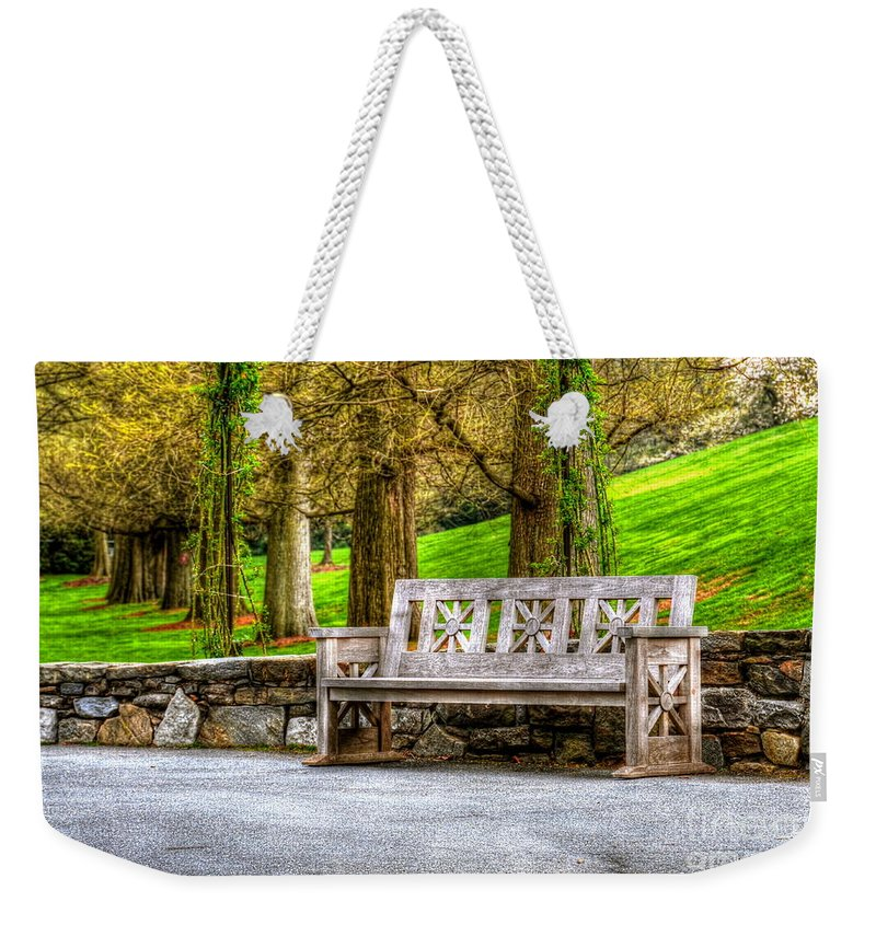 Bench Weekender Tote Bag featuring the photograph Solitude by Debbi Granruth