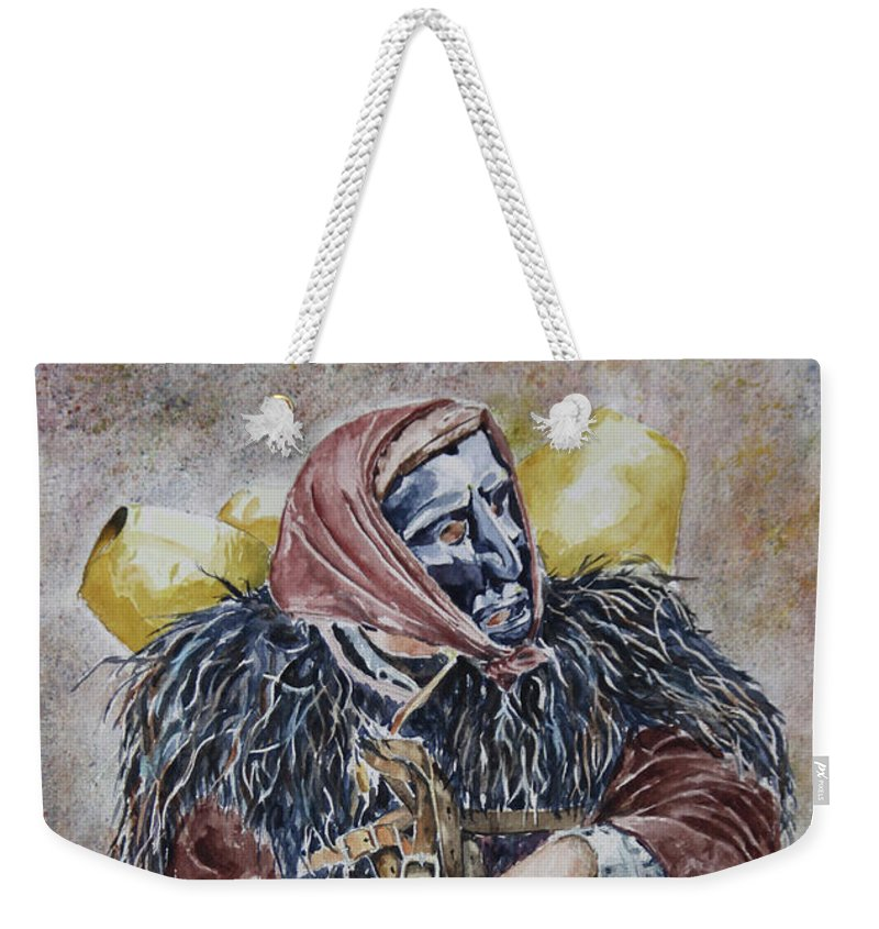 Sassu Weekender Tote Bag featuring the painting Sotto Il Peso De Sa Carriga by Giovanni Marco Sassu