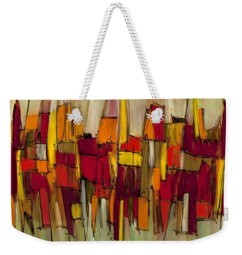 Abstract Art Weekender Tote Bag featuring the painting Sound And Fury Four by Lynne Taetzsch