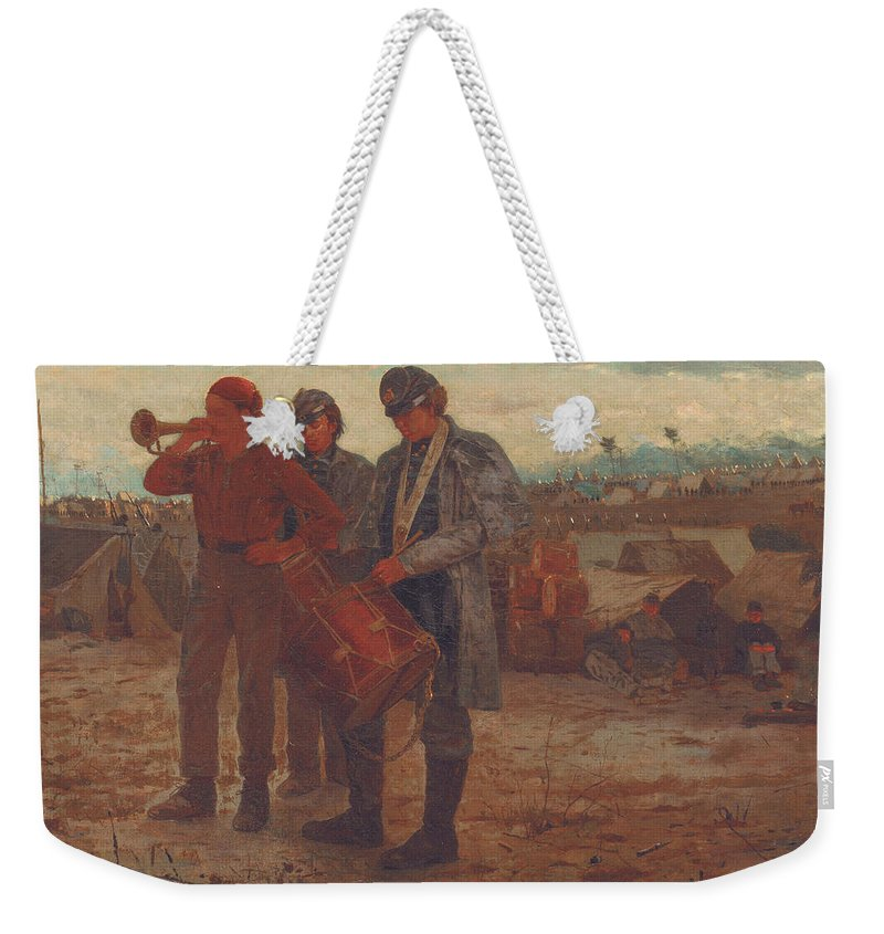 Sounding Reveille Weekender Tote Bag featuring the painting Sounding Reveille by Winslow Homer