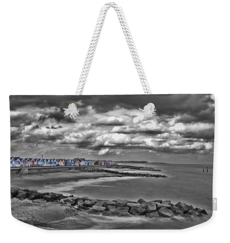 Southwold Beach Weekender Tote Bag featuring the photograph Southwold Beach Huts by Dave Godden