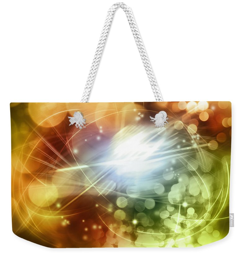 Green Weekender Tote Bag featuring the photograph Space Background by Les Cunliffe