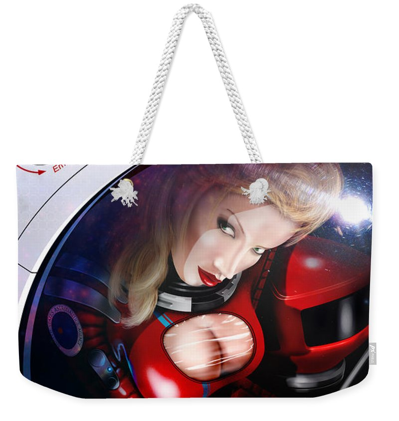 Space Weekender Tote Bag featuring the digital art Space Girl by Doug Schramm