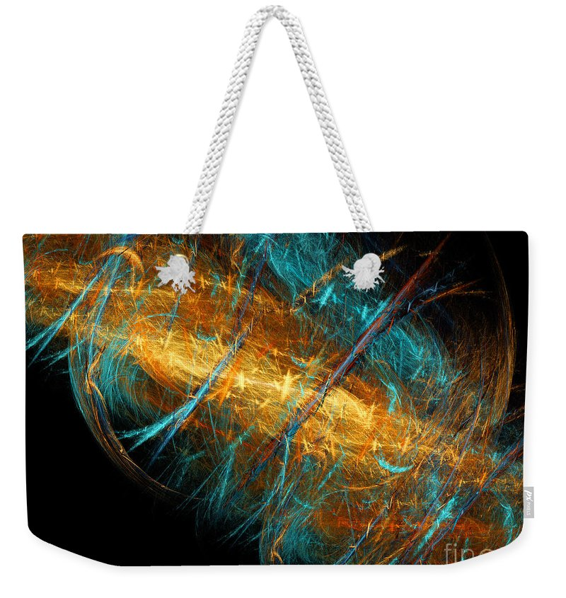 Abstract Weekender Tote Bag featuring the digital art Space Storm by Andee Design