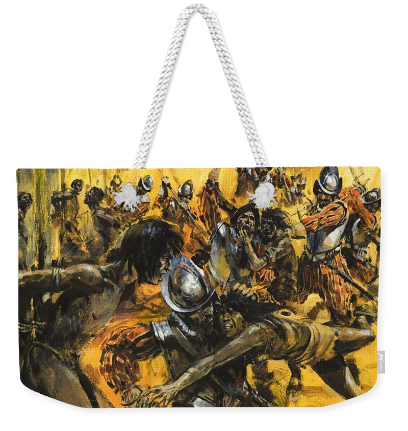 Soldier; Conquest; Mass Killing; Atrocity; Attack; Death; Murder; Brutality; Genocide; Burned; Armour; Sword; Unarmed; Pueblo; Fire; Smoke; Male; Horror; Children's Illustration; Latin America; American; Colonialisation Weekender Tote Bag featuring the painting Spanish Conquistadors by Graham Coton
