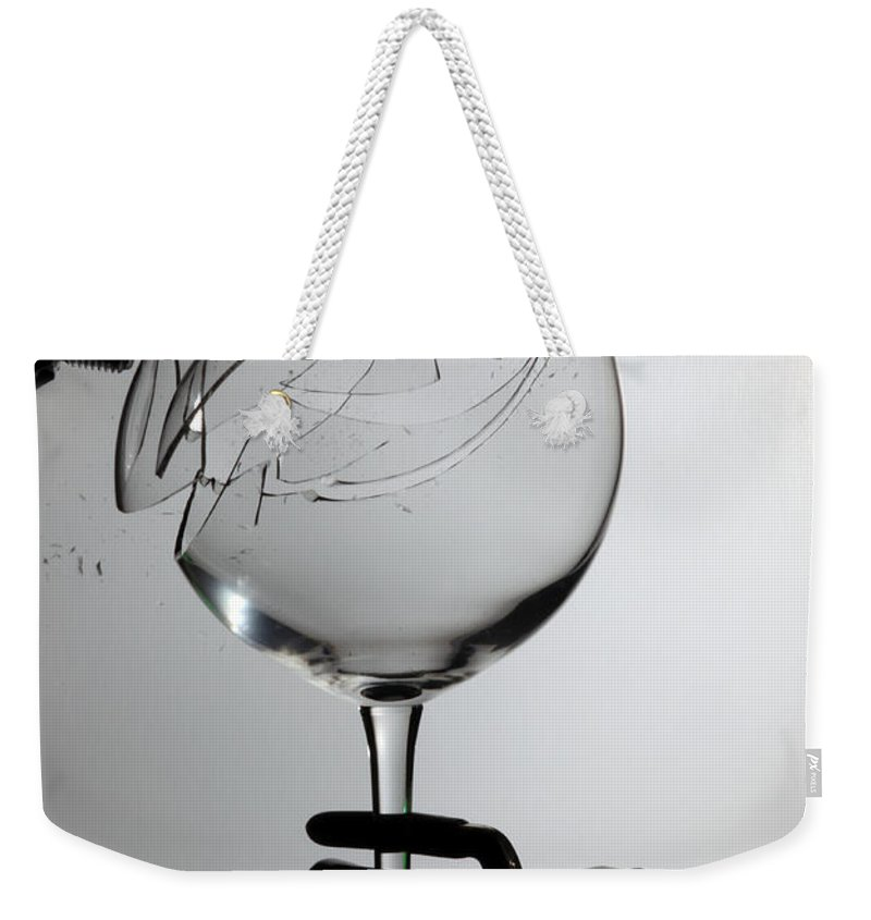 Physics Weekender Tote Bag featuring the photograph Speaker Breaking A Glass With Sound by Ted Kinsman