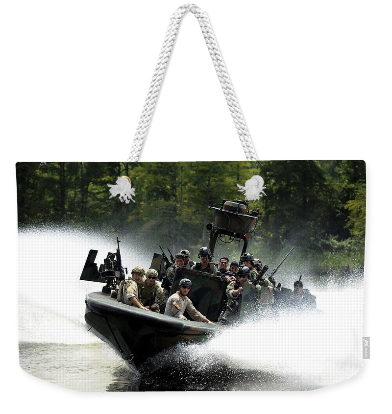 Panamax 2011 Weekender Tote Bag featuring the photograph Special Forces In A High-speed Combat by Stocktrek Images