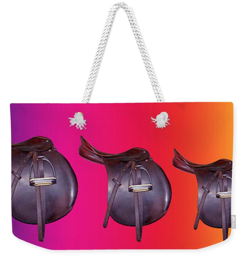 Saddle Weekender Tote Bag featuring the digital art Spectrum by Betsy Knapp