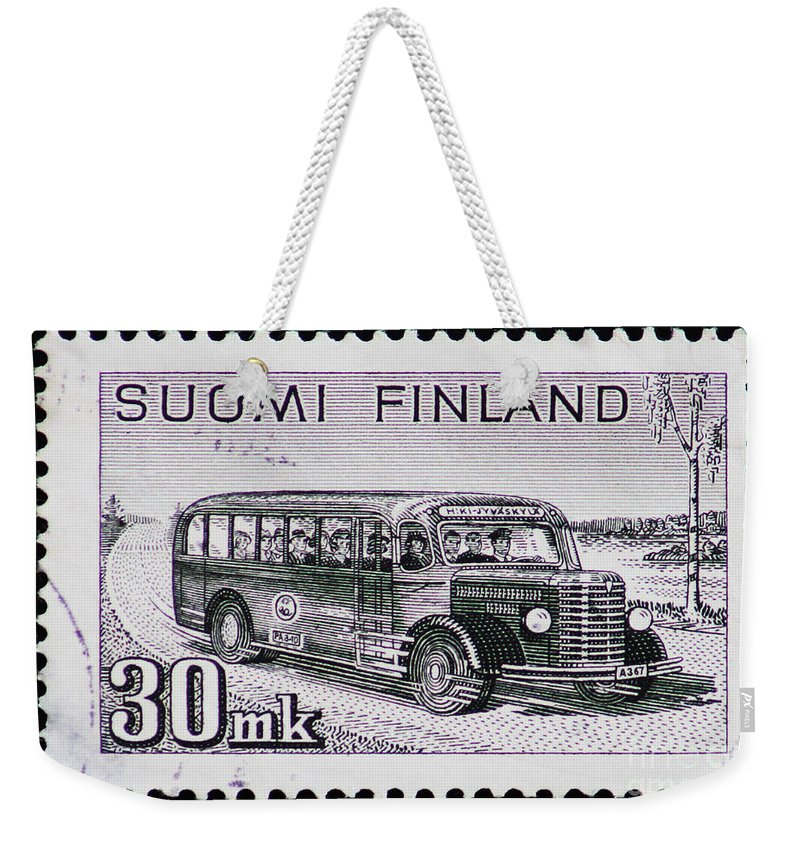 Postage Stamp Weekender Tote Bag featuring the photograph Speedy Old Bus by Andy Prendy
