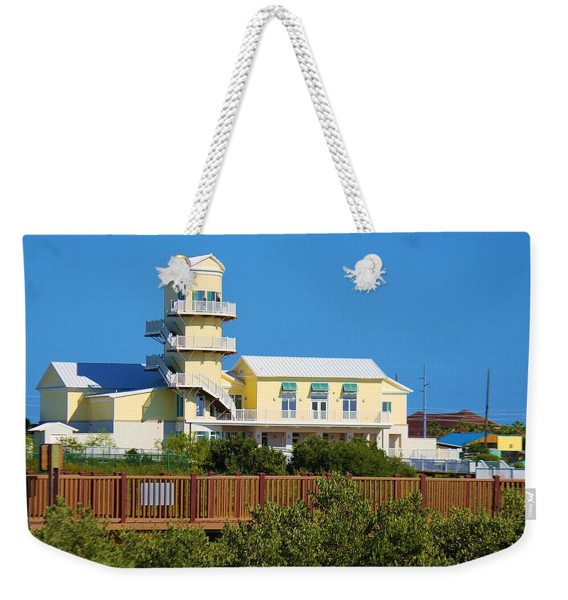 Roena King Weekender Tote Bag featuring the photograph Spi Birding Center From The Boardwalk by Roena King