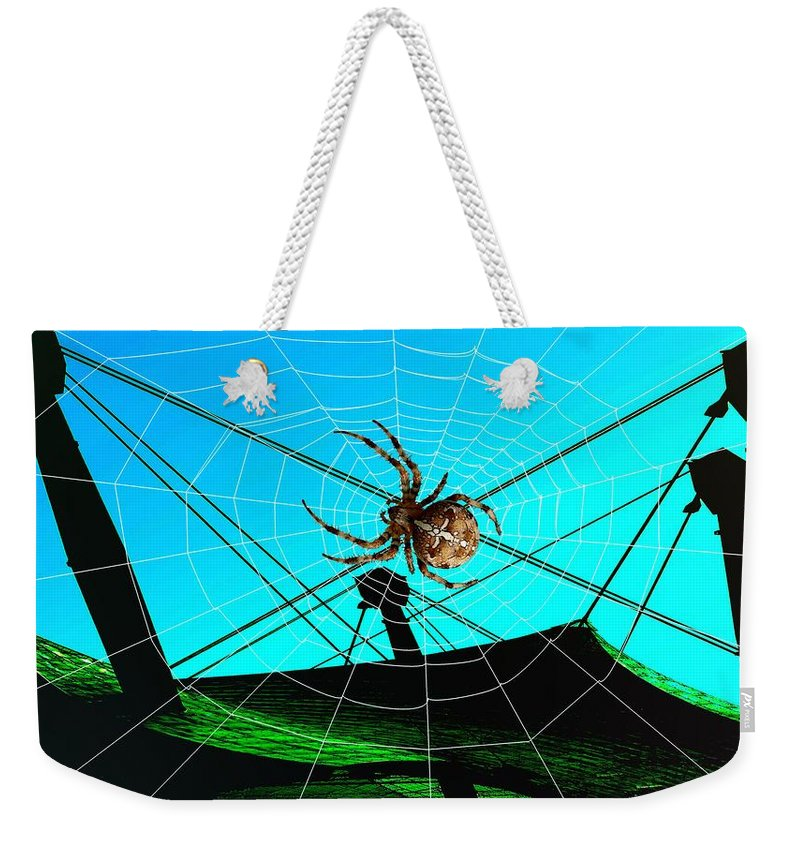 Spider Weekender Tote Bag featuring the digital art Spider On The Olympic Roof by Helmut Rottler
